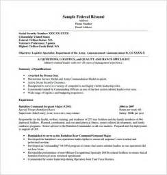 Resume Sle Templates Federal Resume Template 10 Free Word Excel Pdf Format Free Premium Templates