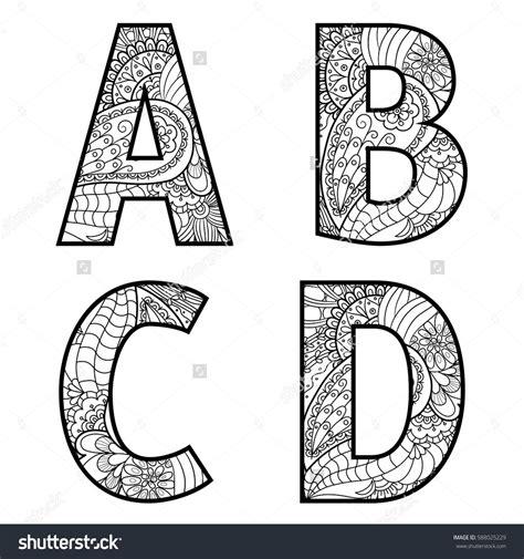 set  vector big letters  pattern doodle letter