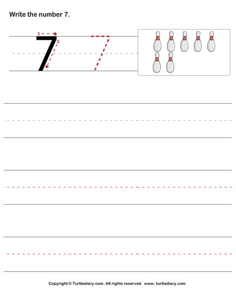 learn to write number seven worksheet turtle diary