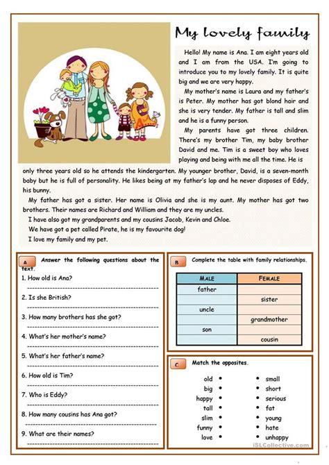 lovely family worksheet  esl printable worksheets