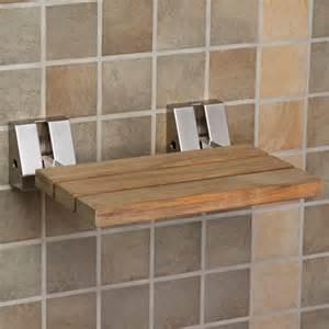 Teak Bathroom Wall Shelves by Wall Mount Teak Folding Shower Seat Brushed Nickel Ebay