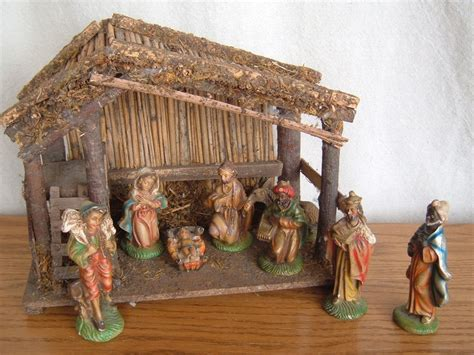 vintage 9 piece nativity set hand painted italy italian