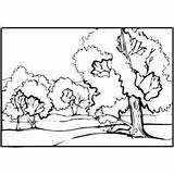 Coloring Stream Trees Landscapes Pages Template Printable 300px 7kb sketch template