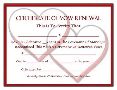 Vow Renewal Certificate Template vow renewal certificates trulytruly net