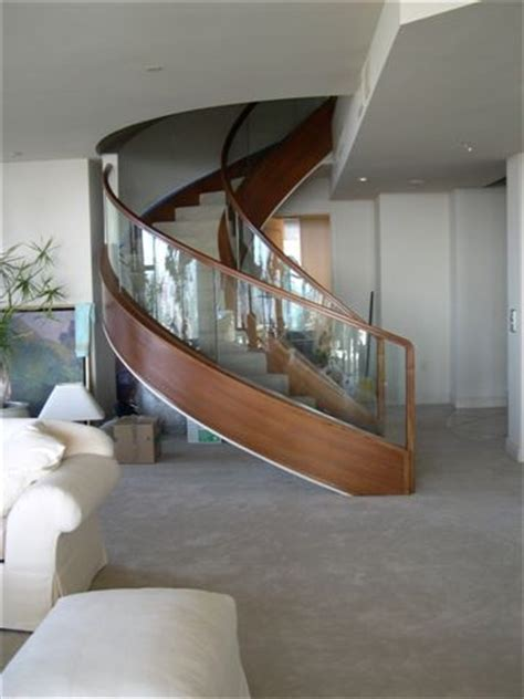 curved glass staircase modern staircase san diego