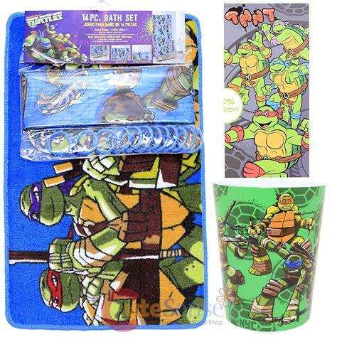 tmnt ninja turtles pc bath set bathroom rug shower curtain ring wastecan towel ebay
