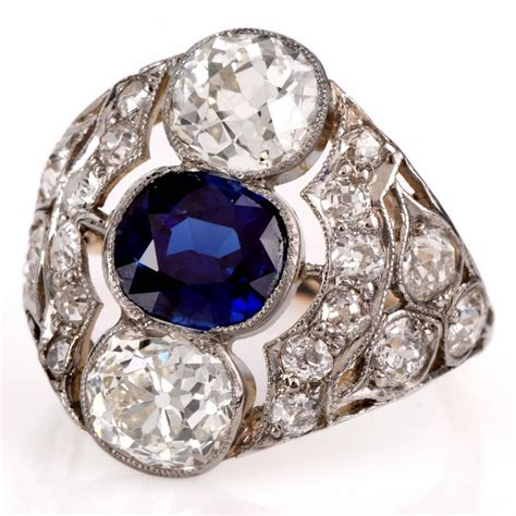 sapphire diamond platinum engagement ring for sale at 1stdibs