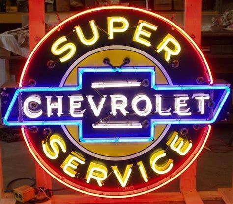 Chevrolet Neon Sign by Chevrolet Neon Antique Porcelain Signs