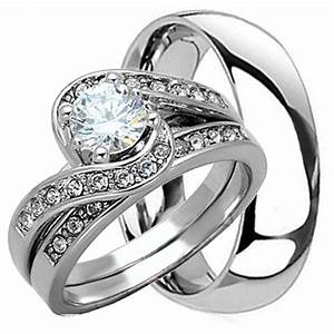 3 pcs his and hers mens womens sterling silver stainless for Wedding rings his and hers sets