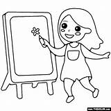 Easel Painting Coloring sketch template