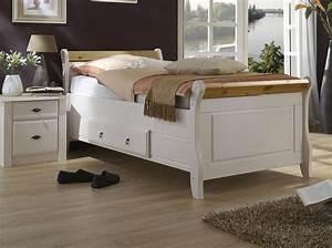 Bett Hochglanz Weiß 90x200 : massivholz bett mit schublade 90x200 holzbett kiefer massiv wei gelaugt ~ Markanthonyermac.com Haus und Dekorationen