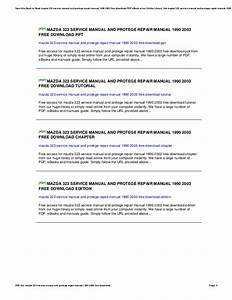 Free Download 2003 Mazda Protege Service Manual