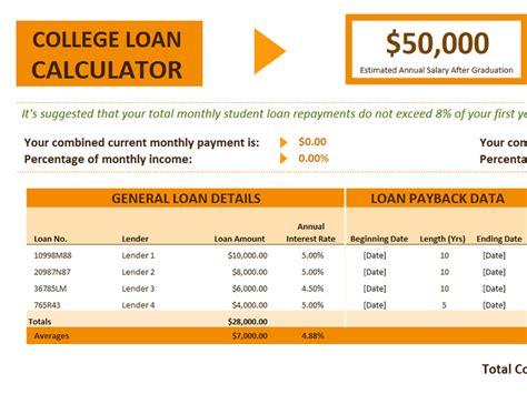 loan calculator excel template college loan calculator office templates