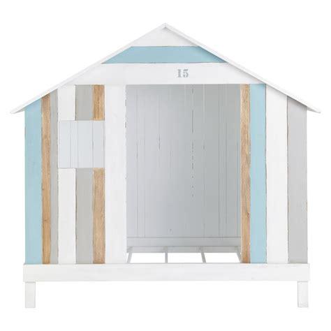 deco chambre bébé garçon lit cabane enfant 90 x 190 cm en bois blanc et bleu océan