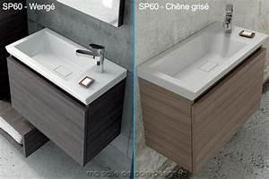 Meuble mural a tiroir amortir et vasque ceramique 60cm x for Salle de bain design avec meuble salle de bain 60 cm castorama