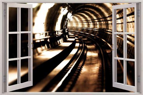 huge  window view train tunnel wall sticker film mural