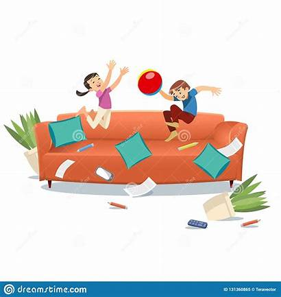 Playing Jumping Couch Ball Cartoon Brother Vector