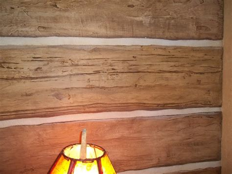 hand carved faux log wall rustic   beautiful