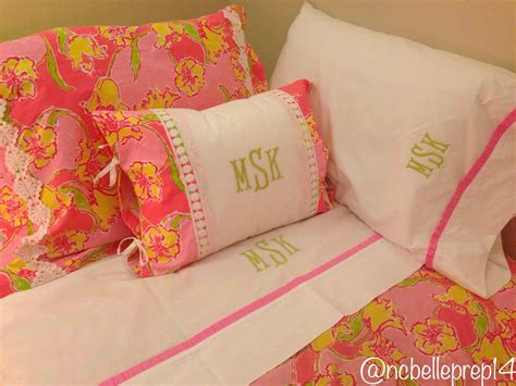 Monogrammed Lilly Pulitzer Day Lily Punch Pink Bedding From Garnet Hill -north Carolina Belle 7 Foot Shower Curtain Rod Nicole Miller Chateau Curtains Country Clearance How To Sew A Valance Make With Lining Eclectic Custom Design Pink Green