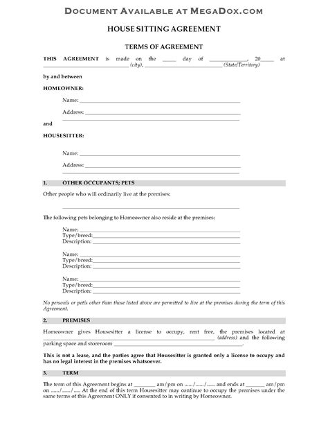 australia house sitting agreement form legal forms