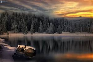 Calm winter lake