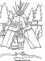 Native American Coloring Pages Teepee Table Thanksgiving Coloriage Indians Pottery Crafts Indian Indien Indiens Coloriages Preschool Les Maybe Colouring Kid sketch template