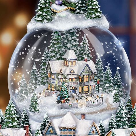 thomas kinkade wondrous winter christmas tree snowglobe ebay