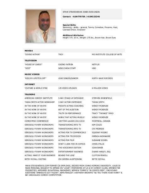 Comedy Resume by Steve Comedy Acting Resume