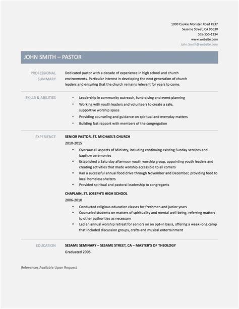 Pastor Resume by 15 Easy Of Pastor Invoice And Resume Template Ideas