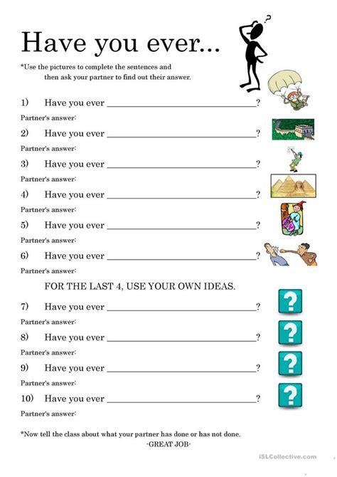 present perfect conversation practice worksheet  esl