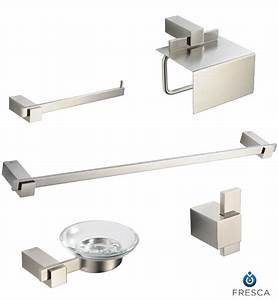 Fresca fac1400bn ellite 5 piece bathroom accessory set in for Bathroom hardware sets brushed nickel
