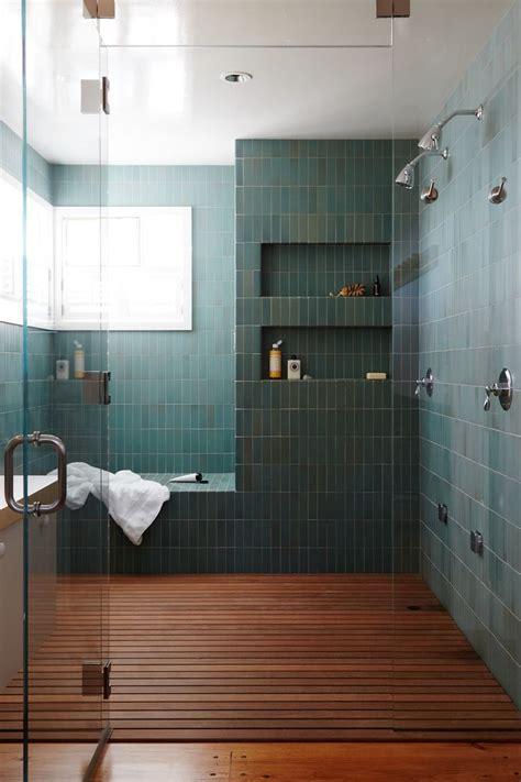 modern green tile  wood slat floor  large master