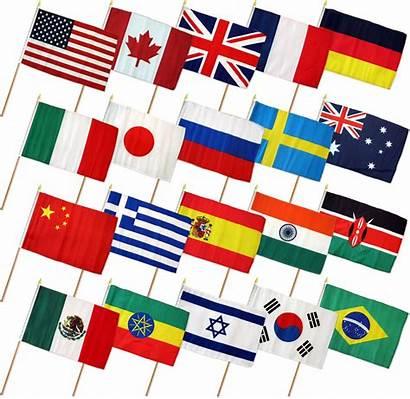 Flag International Countries Stick 12x18 Flags Wood