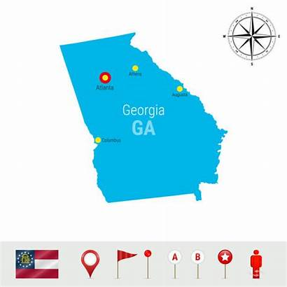 Georgia State Map Silhouette Flag Detailed Clip