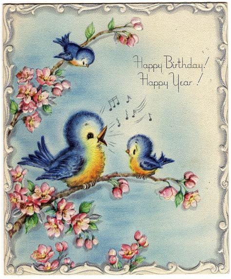 sweet  blue birds   birthday  vintage