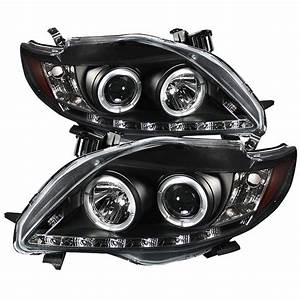 09-10 Toyota Corolla Angel Eye Halo  U0026 Drl Led Projector Headlights