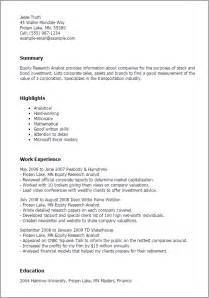 equity analyst resume template professional equity research analyst templates to showcase your talent myperfectresume