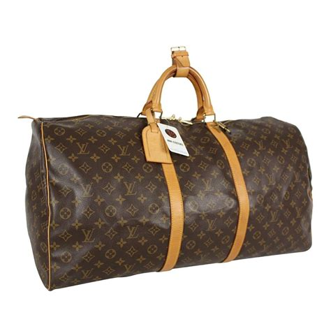 louis vuitton duffle keepall  monogram  boston brown canvas weekendtravel bag tradesy