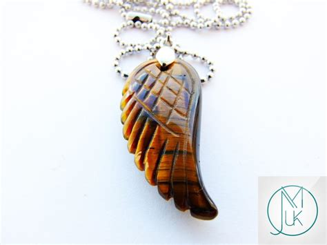 Tigers Eye Gemstone Angel Wing Pendant Necklace Natural