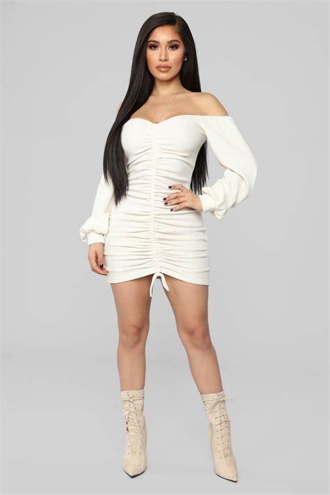 baby im  love ruched dress cream   fashion