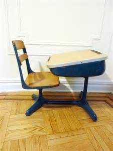 retro blue school desk and chair