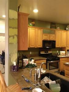 best paint color with honey oak cabinets With best brand of paint for kitchen cabinets with organic wall art