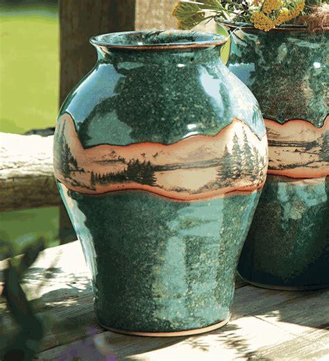 mountain scene pottery medium neck vase