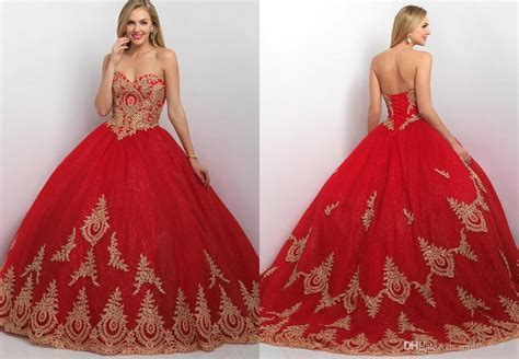 2016 Fashion Red Ball Gown Prom Dresses Gold Lace Applique