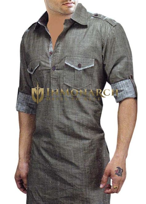 mens gray linen kurtas royal  inmonarch