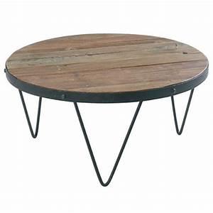 Table Bois Et Fer : table basse ronde loft cross bois et fer casita les meubles du chalet ~ Teatrodelosmanantiales.com Idées de Décoration