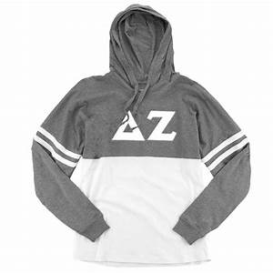 delta zeta long sleeve hoodie white stitched greek With delta zeta stitched letters