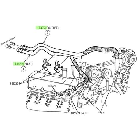 7 3 Diesel Engine Diagram by 7 3l Heater Hose Inlet 6 0l