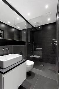 101 photos de salle de bains moderne qui vous inspireront With porte de douche coulissante avec carrelage mural salle de bain noir et blanc