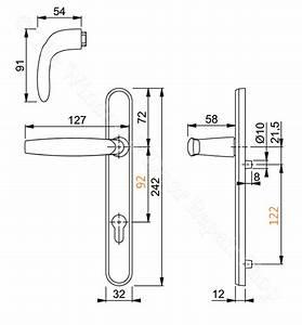 Upvc Door Handle Hoppe Atlanta 92mm 92pz 122mm Fixings